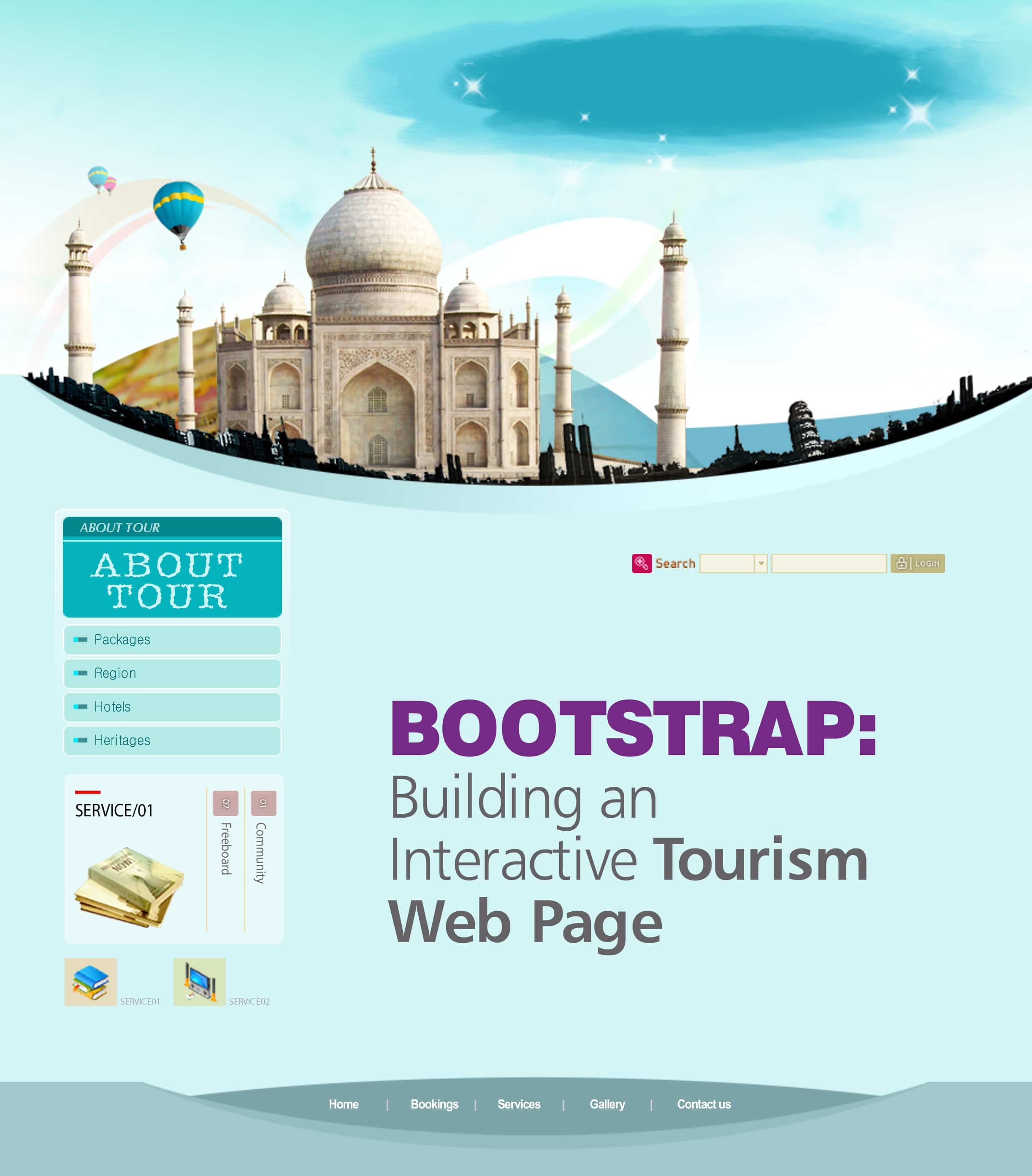 Bootstrap building an interactive tourism web page for Building design website